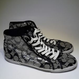 Coach Kandice Sequin Black High Top Shoes Size 10